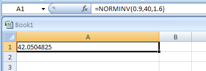 NORMINV(probability,mean,standard_dev) returns the inverse of the normal cumulative distribution