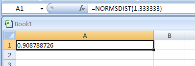 NORMSDIST(z) returns the standard normal cumulative distribution