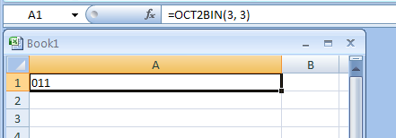 OCT2BIN(number, number_of_characters_to_use) converts an octal number to binary
