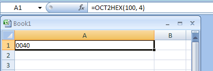 OCT2HEX(number, Number_of_characters_to_use) converts an octal number to hexadecimal