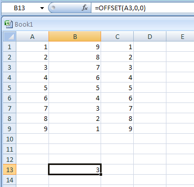 OFFSET(reference,rows,cols,height,width) returns a reference offset from a given reference
