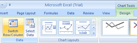 Select the chart. Click the Design tab under Chart Tools. Then click the Switch Row/Column button