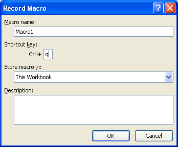 Type a name for the macro. Assign a shortcut key to run the macro.