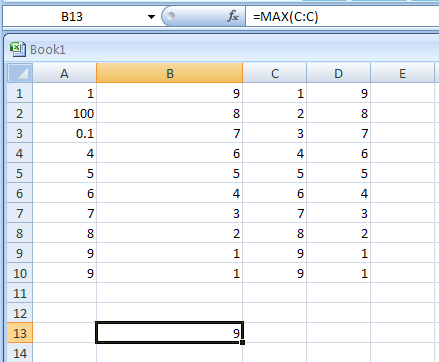 Reference all values in a column