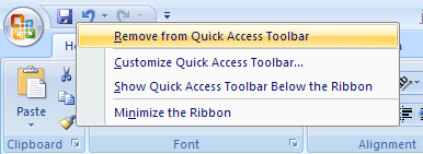 Right-click the button or group name on the Quick Access Toolbar. Then click Remove from Quick Access Toolbar.