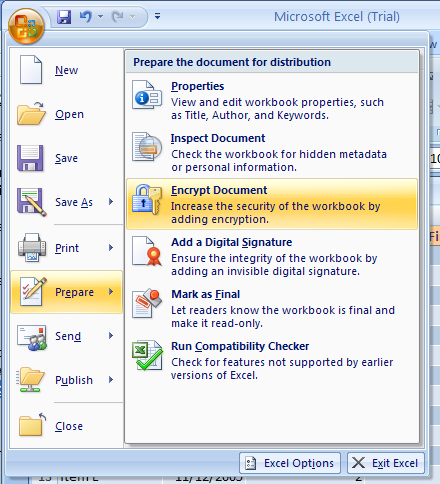 Click the Office button point to Prepare, click Encrypt Document
