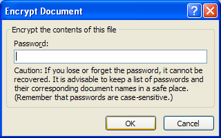 Delete the file encryption password, and then click OK.
