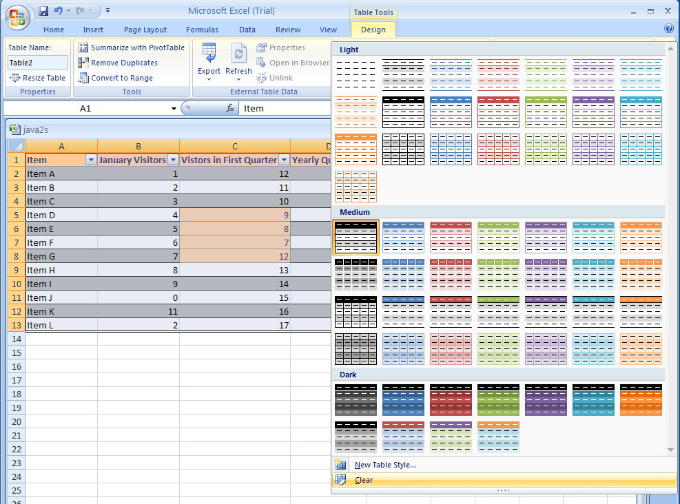 Remove or clear a table style table format table for Table design tab excel