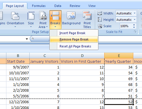 reset excel print settings
