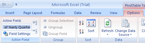 Click the PivotTable report. Click the Options tab. Click the Active Field Name box, type a new name and then press Enter.