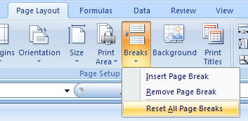 Reset page breaks back to the default