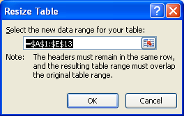 Type the range you want to use for the table.