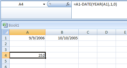 Return the day of the year for a date stored in cell A1: