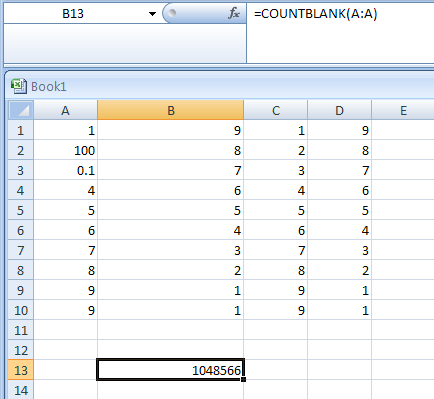 Return the number of blank cells in column A