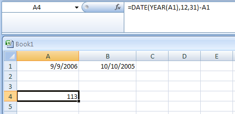 Return the number of days remaining in the year from a particular date