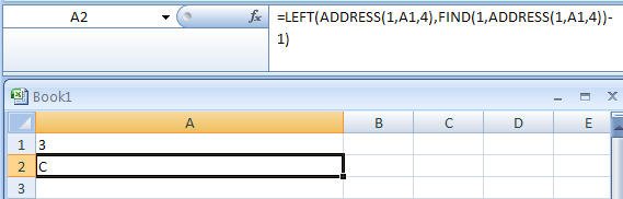 Input the formula: =LEFT(ADDRESS(1,A1,4),FIND(1,ADDRESS(1,A1,4))-1)