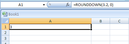 ROUNDDOWN(number,num_digits) rounds a number down, towards zero