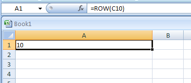 ROW(reference) returns the row number of a reference