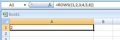 ROWS(array) returns the number of rows in a reference
