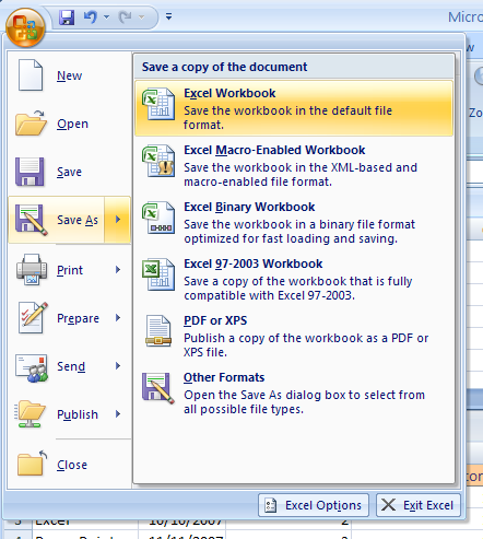 Save a Workbook for Excel 2007