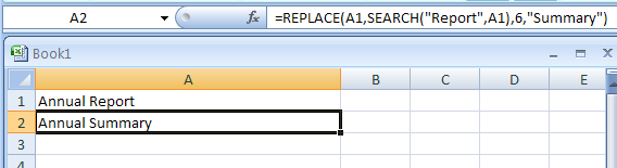 Search for the word Report and replaces those six characters it with the word Summary: