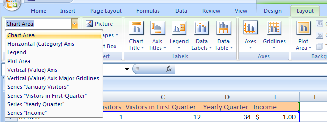 Click the Chart Elements list arrow. Click a chart element.