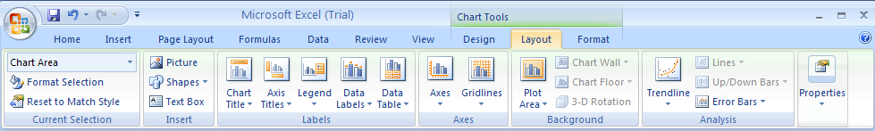 Select the chart. Click the Format or Layout tab under Chart Tools.