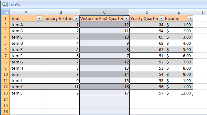 Excel select rows and columns for Html table column header