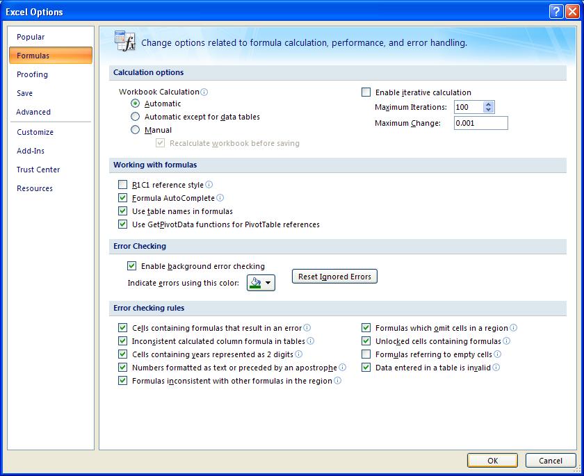 Excel: Set Error Checking Options