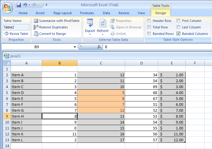 Select Banded Column to format even columns differently than odd columns.