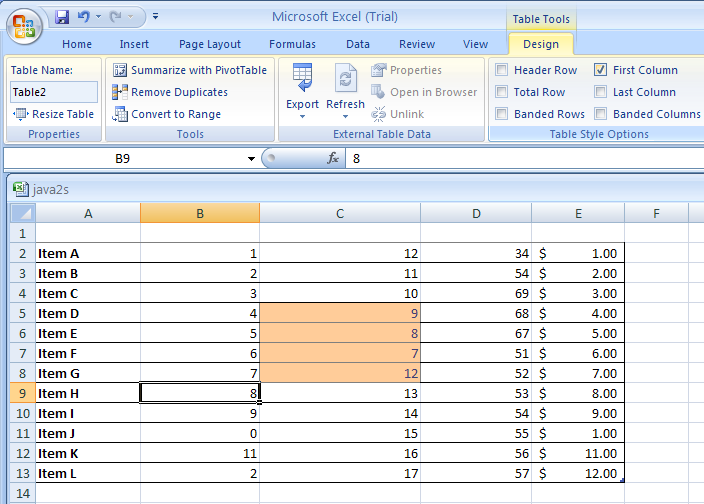 Select First Column to format the first column of the table as special.