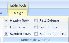Select Header Row to format the top row of the table as special.