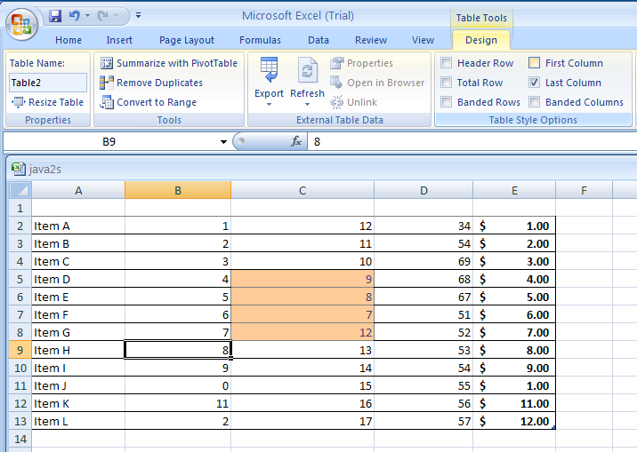 Select Last Column to format the last column of the table as special.