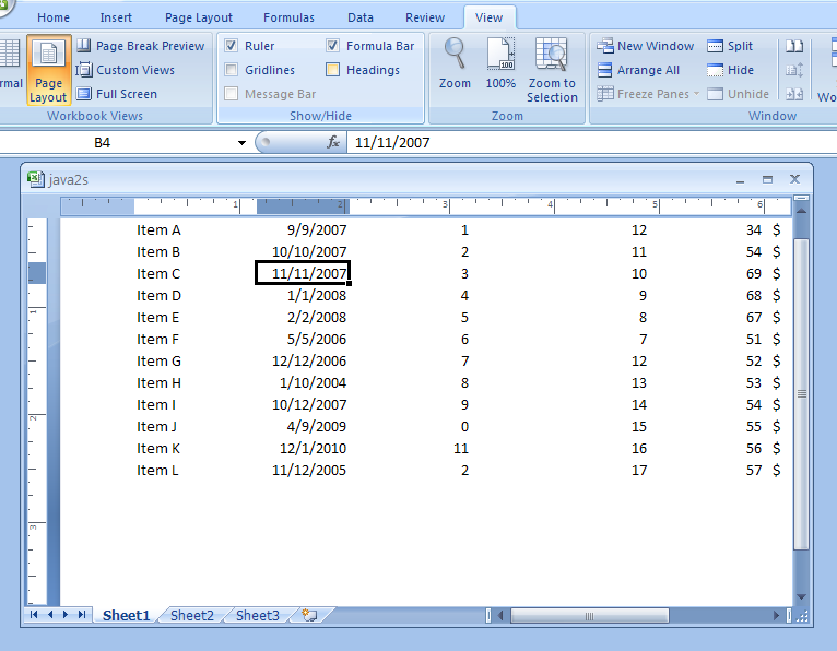 how to give heading in excel