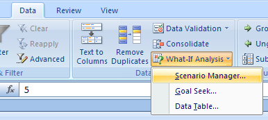 Click the Data tab. Click the What-If Analysis button, and then click Scenario Manager.