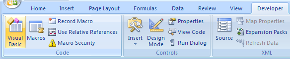 Click the Developer tab. Click the Visual Basic button to open the Visual Basic window.