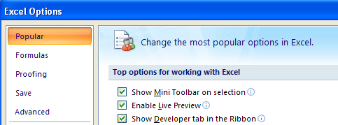 In the left pane, click Popular. Select the Show Developer tab in the Ribbon.