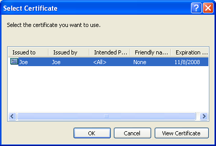 Select a certificate in the list.