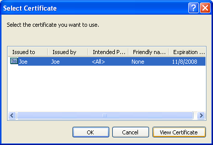 To view a certificate, click View Certificate, and then click OK.