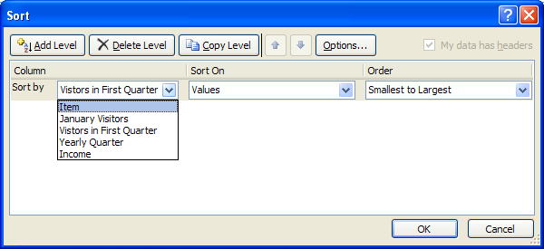 Excel sort a table using multiple fields and attributes for Html table sortable attribute