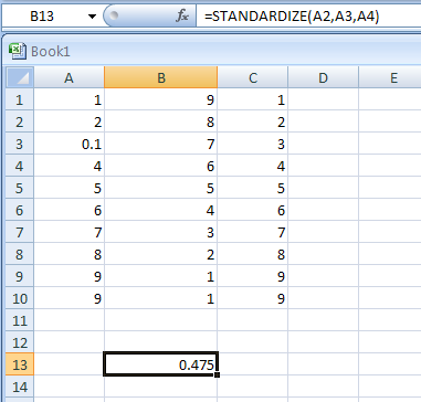 STANDARDIZE(x,mean,standard_dev) returns a normalized value