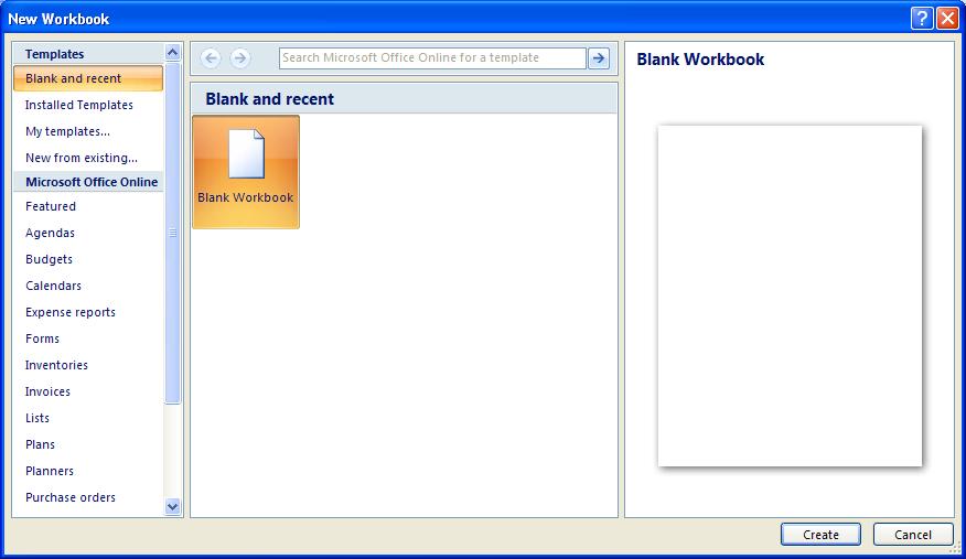 ... : Workbook Create « Editing « Microsoft Office Excel 2007 Tutorial