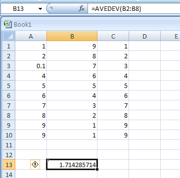 AVEDEV(number1,number2,...) returns the average of the absolute deviations of data points from their mean