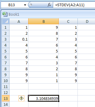 STDEV(number1,number2,...) estimates standard deviation based on a sample