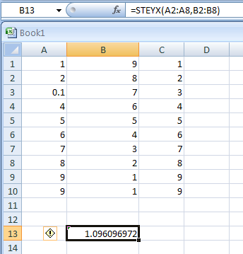 STEYX(dependent, independent) returns the standard error of the predicted y-value for each x in the regression