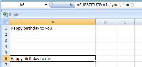 SUBSTITUTE(text,old_text,new_text,instance_num) substitutes new text for old text in a text string