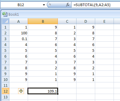 SUBTOTAL(function_num, ref1, ref2, ...) returns a subtotal