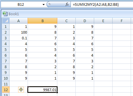SUMX2MY2(array_x,array_y) returns the sum of the sum of squares of corresponding values in two arrays