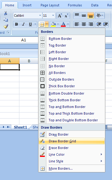 Switch between Draw Border and Draw Border Grid