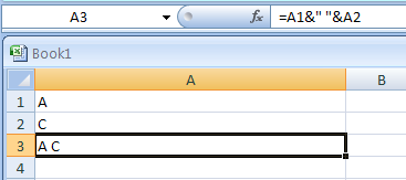 To add a space between the two entries when joining Two or More Cells: